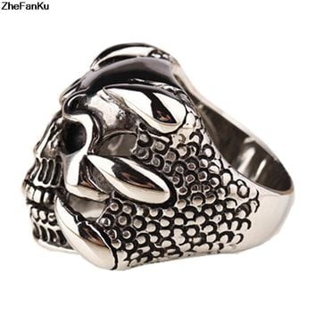 New Punk Rock Mens Rings Vintage Gothic Jewelry Antique Silver Dragon Claw Ring Men Skull Rings US Size 8-10 Free Shipping