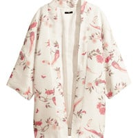 H&M - Patterned Kimono - White/patterned - Ladies
