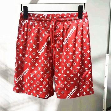 supreme print muliticolor shorts man pants Sweatpants