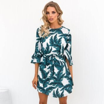 2018 Women Summer Dress Sexy O Neck Flare Sleeve Lace Up Leaves Print Dresses Autumn Casual Dress Robe Femme Vestidos