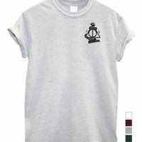 Deathly hallows UNISEX Hogwarts top harry potter master of death print Tshirt | eBay