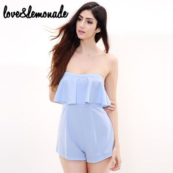 Sky Blue Flounced Waist Wrapped Chest Jumpsuits