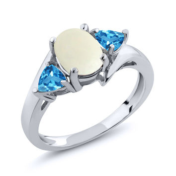 1.61 Ct Oval White Simulated Opal Swiss Blue Topaz 925 Sterling Silver Ring