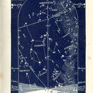 1883 Star Maps December Constellations and Stars, Northern Sky Set of Four Astronomy Prints
