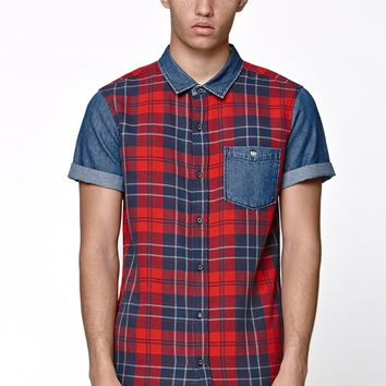 Modern Amusement Pieced Flannel Short Sleeve Woven Shirt - Mens Shirt - Red