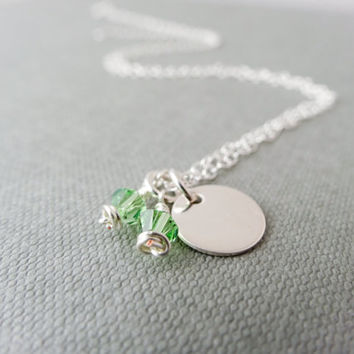 Birthstone necklace, Peridot necklace, green necklace, Silver necklace, Swarovski necklace, charm necklace, August birthday necklace