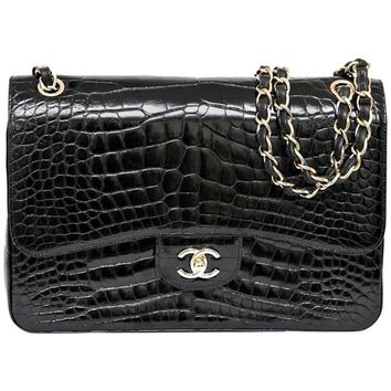 Chanel 12A Black Alligator Classic Double Flap Jumbo Gold Hardware