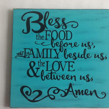 Bless The Food Before Us - Wood and Vinyl Sign Distressed
