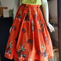 50's Asian Novelty Print Circle Skirt, Thai Dancers Circle Skirt, Cambodian Dancers Skirt, Orange Circle Skirt, Asian Print Skirt, Size XS
