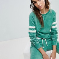 Ocean Drive Burnout Stripe Sweat Top In Green at asos.com