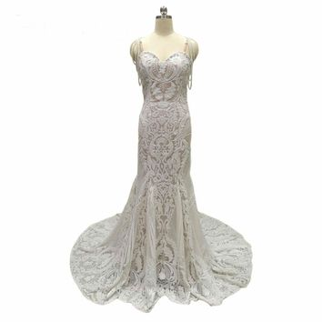 Lace Mermaid Wedding Dresses Pearls Wedding Gowns