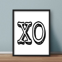 XO Wall Art Printable, Typography Design, Home Decor, Instant Downloadable 8x10 Design, Black and White
