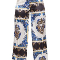 Blue Scarf Print Wide Leg Trousers