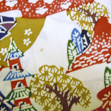 CLEARANCE OFFER - Landscape scene Vintage Japanese chirimen  silk kimono fabric