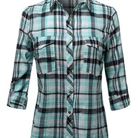 Women's Lightweight Relaxed Fit Plaid Shirt
