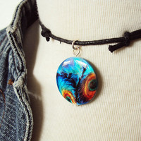 Peacock Feather Necklace ~ 90s Choker Necklace ~ 90s Grunge ~ Grunge Style ~ Soft Grunge Choker ~ Grunge Fashion