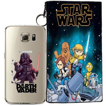 Star Wars (Darth Vader) Jelly Clear Case For Samsung Galaxy S7 Edge + Pouch