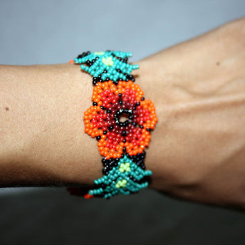 Native American Bracelet Huichol Bracelet Beadwork Huichol Art Mexican Jewelry Flowers Mexican Hippie Jewelry Hippie Bracelet Authentic