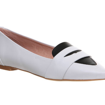 Office Ladybird Penny Tab Point White Black Leather - Flats