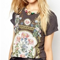 Vintage Flora Print T-shirt for Women M
