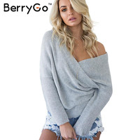 BerryGo Autumn winter thick pullovers sweater women Fashion batwing sleeve white sweater 2016 Elegant loose v neck jumper tops