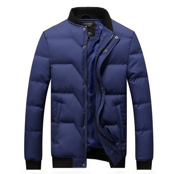 Trendy Winter Jacket Men 2018 Brand New Quilted Jackets Stand Collar Cotton Padded Thick Warm Coast for Man Outwear M-4XL AT_94_13