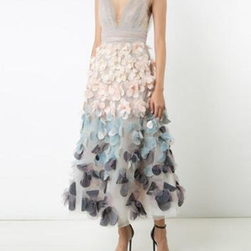 CREYONJF Marchesa Notte Floral Applique Dress - Farfetch