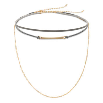 Set of Two Gray Leather and Gold Tone Chain Fashion Chokers