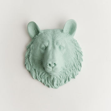The Benzie - 1 Seafoam Mini Resin Bear Head- Resin Sea Foam Faux Taxidermy- Chic & Trendy