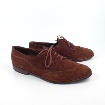 Brown Leather Shoes Suede Vintage 1980s Oxfords Clarus Italy Women's size 9 1/2
