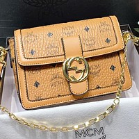 GUCCI & MCM  New fashion more letter leather chain shoulder bag women crossbody bag Brown