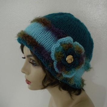Deep Teal Flower Cloche by IllusionsbyDonna on Zibbet