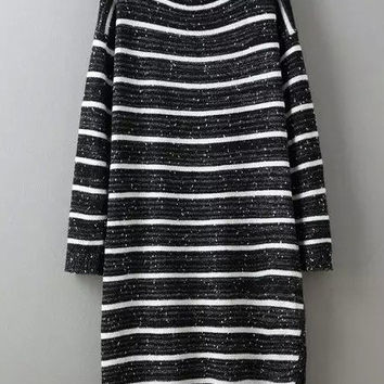 Black White Striped Long Sleeve Midi Dress with Slit