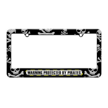 Protected By Pirates - License Plate Tag Frame - Skull and Crossbones Design