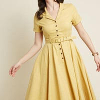 Collectif x MC Cherished Era Shirt Dress in Yellow
