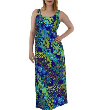 70s Mod Floral Empire Maxi Dress-S