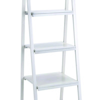 """Spacious And Durable 65"""" Timber Wooden Leaning Shelf In White"""