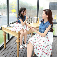 Authentic Summer Style Mother Daughter Dresses 2016 Denim & Cotton Print Dress Fashion Casual Vestidos Family Matching Clothes