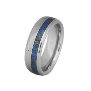 Men's Titanium Ring inlaid with off center Lapis Lazuli