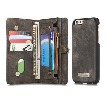 CaseMe Genuine Leather 10 Card Slots Card Holder iPhone6s Phone Case Wallet For Men