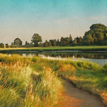 Eastham Eventide, No. 2 - FREE Shipping - Cape Cod - Summer - Salt Pond - Green - Blue - Golden - Fine Art Photo Painting