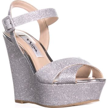 Nina Jinjer Platform Wedge Dress Sandals, Silver, 10 US