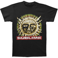 Sublime Men's  Distressed Sun Within Circle Slim Fit T-shirt Black Rockabilia