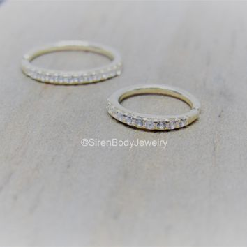 14k Gold CZ paved seam ring 8mm or 10mm diameter 2mm clear gemstones