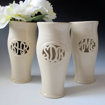 INFO on Cursive Monogram Vase - Wedding, commitment ceremony / bridesmaid gift - handmade to order