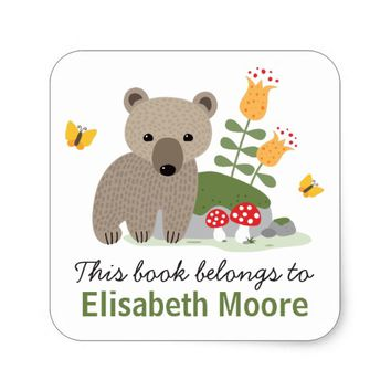 Bear cub with flowers and buttflies bookplate book square sticker