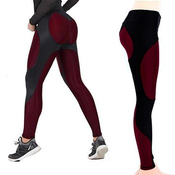 New Design Sexy Yoga Pants Black Red Stitching Women Yoga Pants High Elastic Fitness Sport