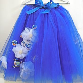 Royal blue women tutu skirt for adults with blue birds vibrant blue women tulle skirt bridesmaids dark women tutu outfit long