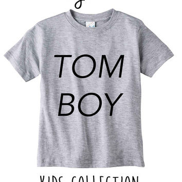 Tomboy Heather Grey / White Toddler Kids T Shirt Clothes Gift