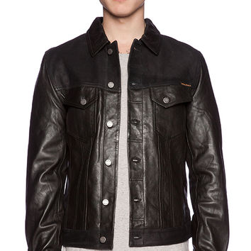Nudie Jeans Perry Leather & Crust Jacket in Black